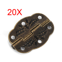 20Pcs/Lot Hot-sale Vintage Bronze Engraved Designs Hinges Cabinet Drawer Jewelry Box Pack --M25(China)