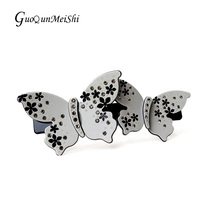 Retail Gray Acetate Cellulose Hair Clips Butterfly Rhinestone hair accessories buyer for Women Hair Jewelry free shipping gifts