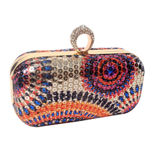 Colorful Beads Printing Women Evening Bags Diamonds Small Purse Bags Vintage Evening Dress Handbags For Wedding
