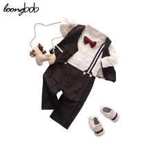 Baby Boys Suspender Romper + Vest + Bow Tie Newborm Formal Suit Infant Spring Autumn Clothes Toddler Wedding Party Costumes