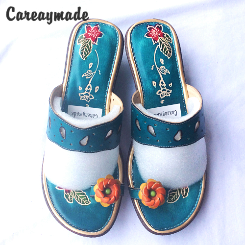 Careaymade-new summer soft bottom Leather Flip Flops comfortable folk style hand-painted Candy colors flowers anti-skid slippers<br>