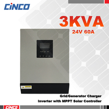 3KVA 24VDC Power Inverter with 24V 60A MPPT Solar charge controller and grid charger 2400w solar inverter remote control
