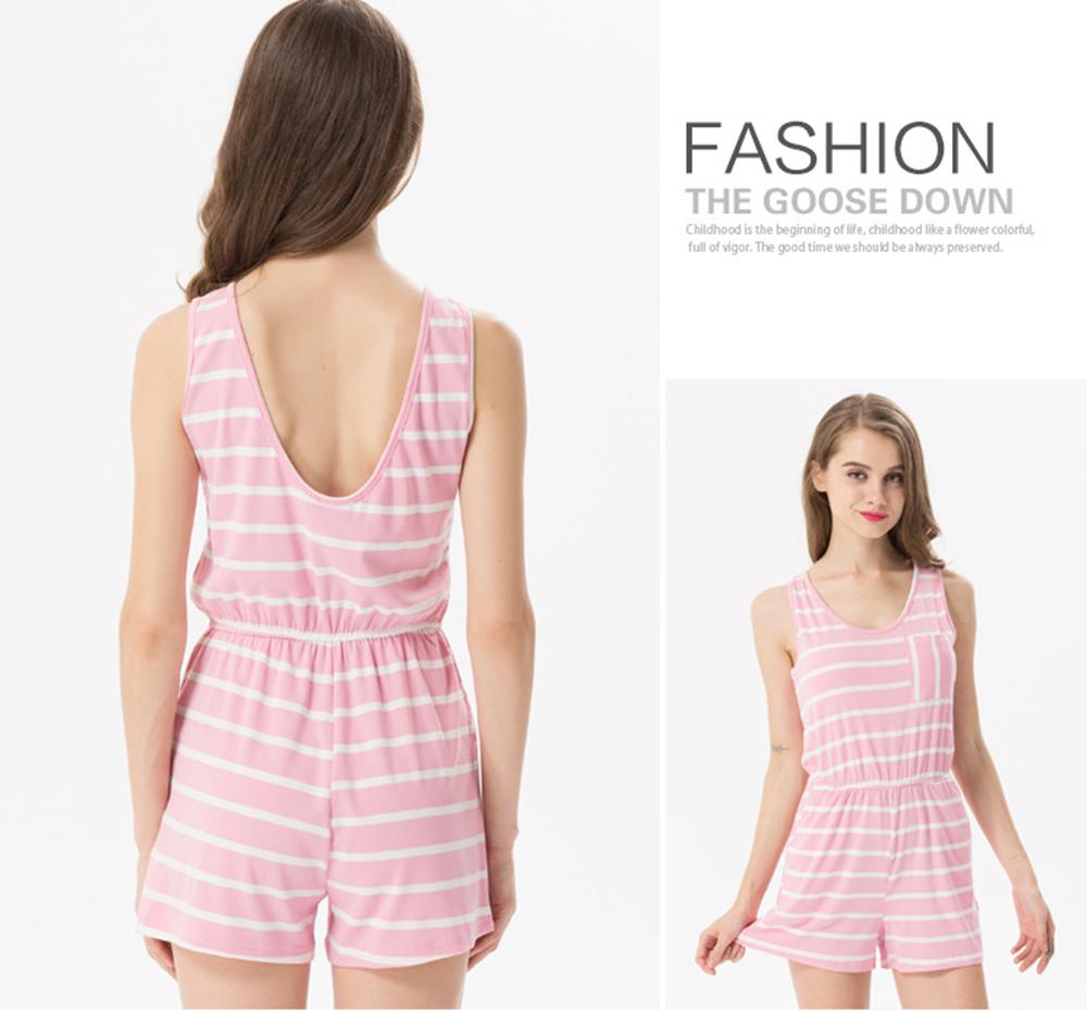 Siskakia mody młodzieżowej Letnie nastolatek dziewczyny Playsuit Przebrania paski patchwork slim fit krótkie elegancki 100% bawełna odzież różowy 27