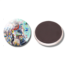 Flower Horse 30MM Fridge Magnet Horse Coloured Drawing Glass Cabochon Note Holder Magnetic Refrigerator Stickers Home Decoration(China)