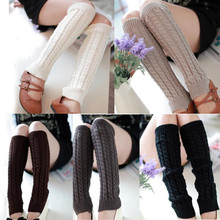 2017 Hot Sale Women Winter Thigh High Leg Warmers Hemp Flowers Pattern Solid Color Knitted Crochet Long Socks Warm Boots Socks(China)