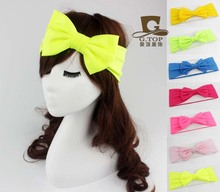 NEW BIG Bowknot Turban Headband neon color Head Wrap Knotted Hair Band