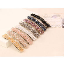 Female Girl Bling Beads Headwear Crystal Rhinestone Hair Clip Barrette Hairpin Bijouterie Trinket Ornament Accessories For Woman