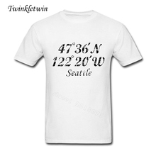 Custom Made Mens Big Tshirts Seattle Coordinates Vintage Black Man's O Neck Short Sleeve Tshirts Adult Pop 100% Cotton T-shirt(China)