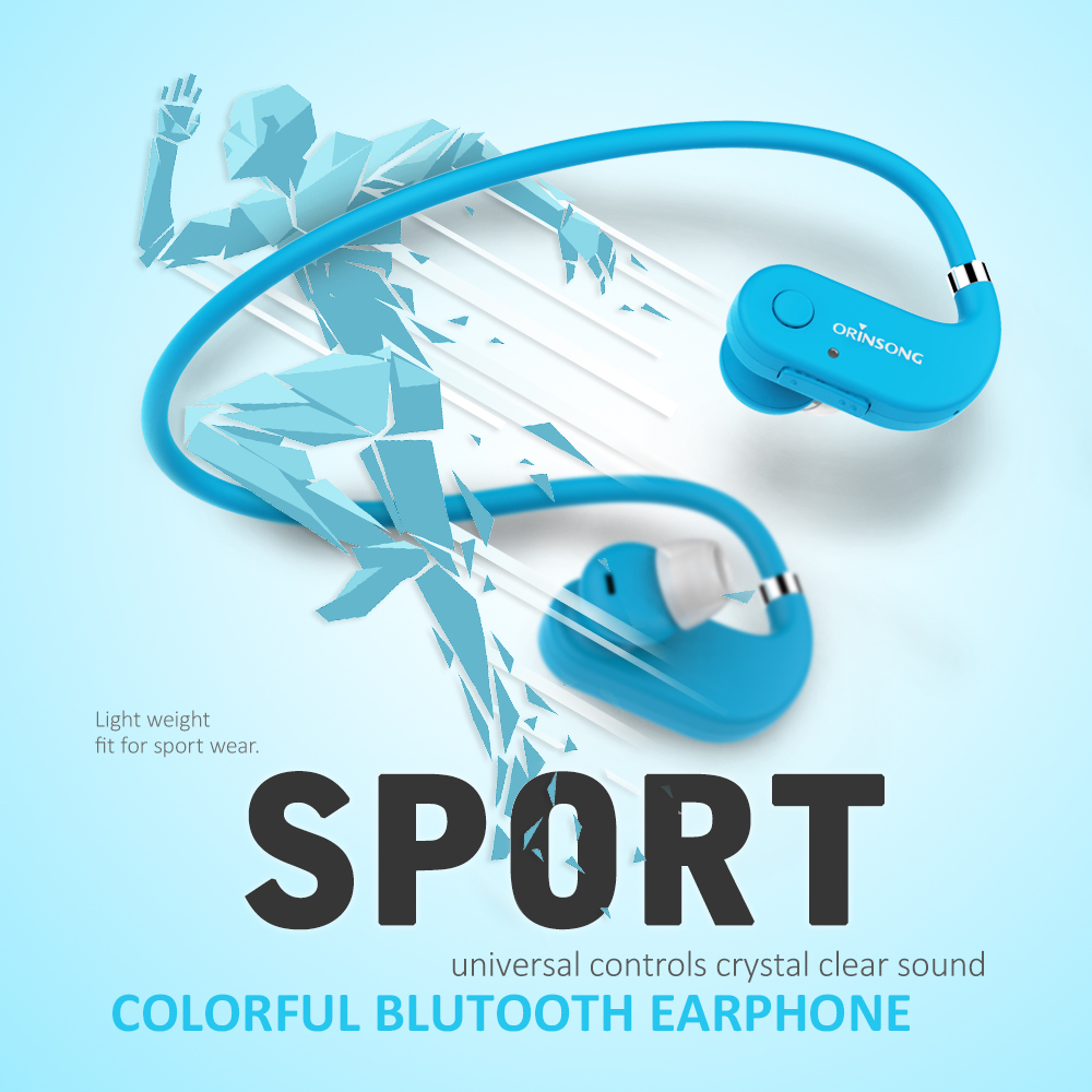 Cheap hot selling blue portable sports bluetooth neckband with mic for mobile phone with long standby earphone