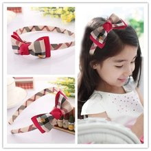 vintage plaid baby girls children headbands hoop for hair band bows grosgrain ribbon bows accessories Hairband headwear hairbows