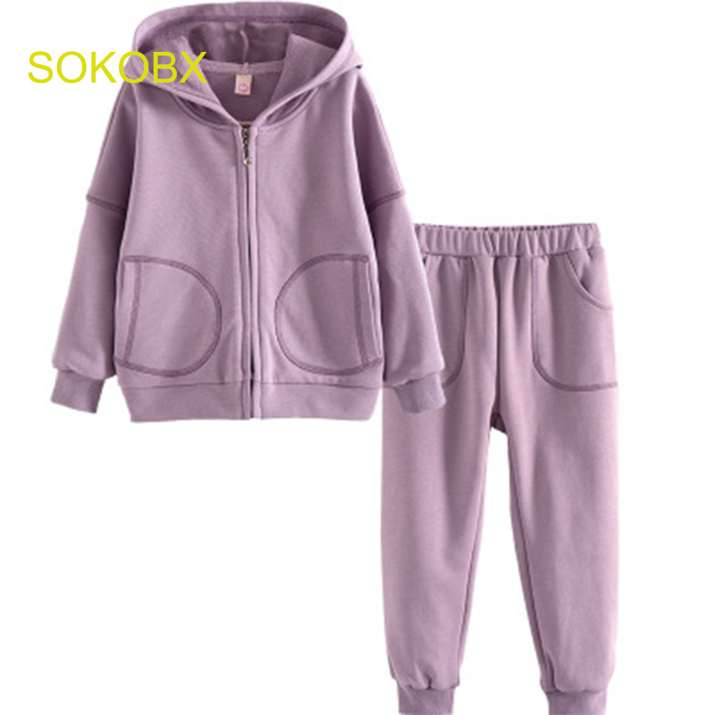 Fashion SOKOBX 2018 Spring Girls Clothing Sets For 2-7 Years Children Clothing White Tops+Pants 2PCS Sets Girls Clothes<br>