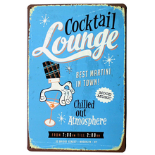MARTINI Cocktail Lounge Metal decor Sign Vintage Tin Plate Chill Alcohol Drink for Hotel room printing decor LJ3-2 20x30cm B1(China)