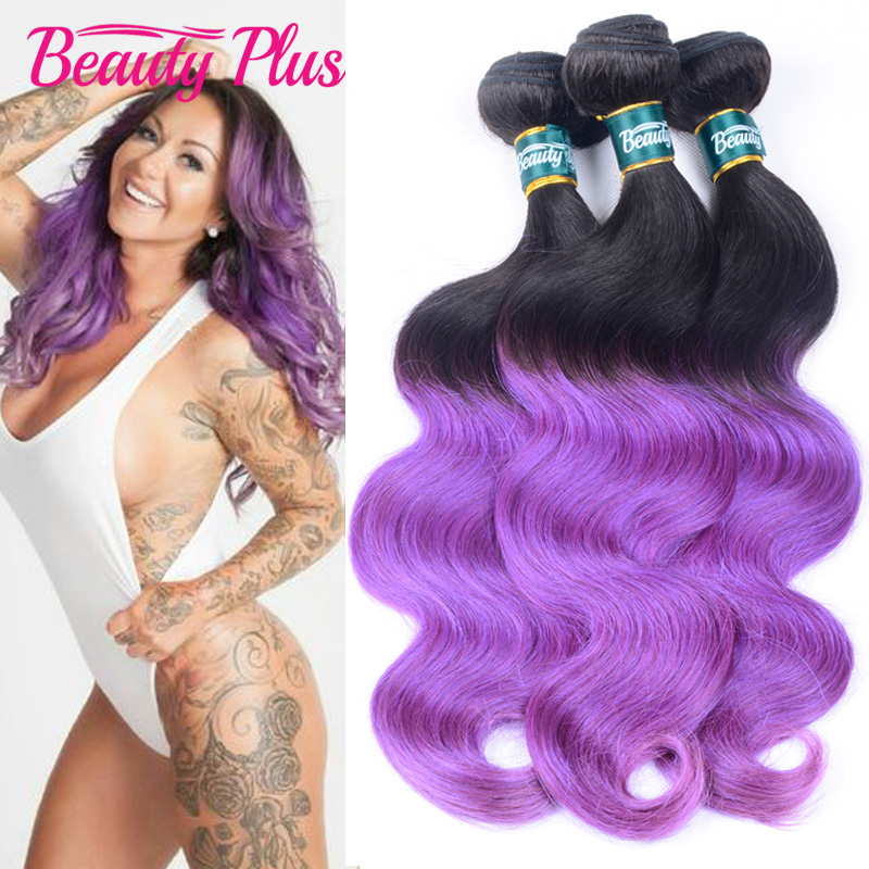 8A Purple Ombre Hair Extensions Brazilian Virgin Hair Body Wave 1B Black And Romantic Purple 2 Tone Ombre Human Hair 3 Bundles<br><br>Aliexpress