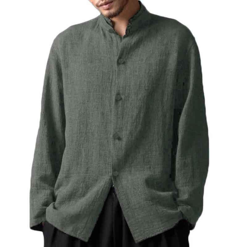 INCERUN Mens Collarless 100/%Cotton T-Shirt Long Sleeve Casual Grandad Shirts Tee