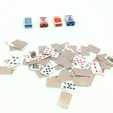 New 4Sets1:12 Scale Doll House Miniature Games Poker Paper Playing Cards 1/12 Miniature Dollhouse Accessories Toy for Kids Adult