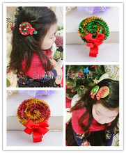 6PC/lot  2015 Christmas Hair accessories For Children Girls Hairy little lollipop With Chiffon Bowknot Hairpin Baby Hair Clips