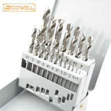 19pcs Twist drill bit sets with metal box,HSS 4341& HSS M2 DIN338 straight Shank metal and wood cutting drill bits manufacturer