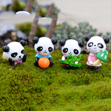 4 Pcs/lot mini panda fairy garden miniatures gnomes moss terrariums resin crafts figurines for home decoration accessories