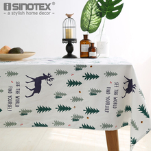 Linen Table Cloth Green Tree and Elk Printed American Style Christmas Large Size White Table Cover Dining Tablecloth Home Decor(China)