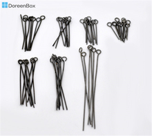 Doreen Box Lovely 700PCs Mixed Gunmetal Eye Pins 0.7mm(21 gauge) (B03347)