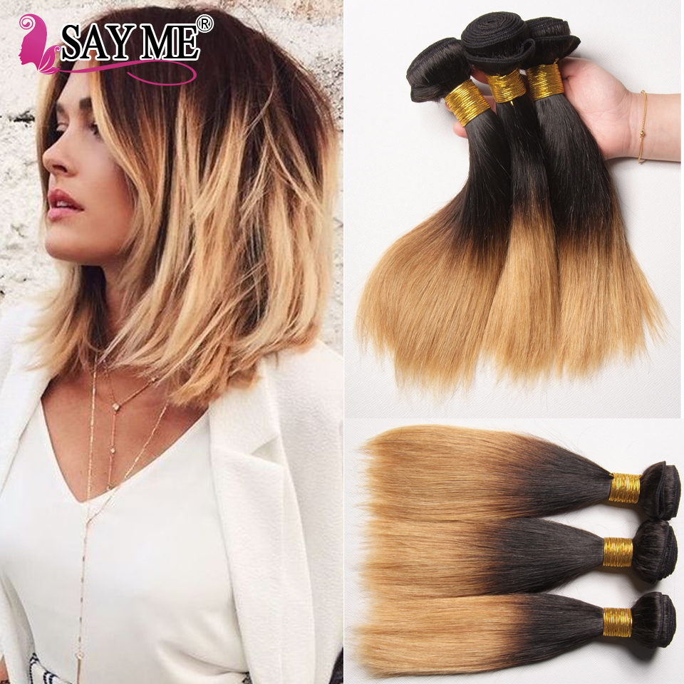 Say Me Hair Ombre Two Toned Cheap Peruvian Straight Virgin Hair 4 Bundle Deals Remy Two Tone Straight Bob Weave 1B 27# / 30#<br><br>Aliexpress