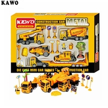 5 in 1 KAWO 1:30 Scale Friction Powered Die Cast Car Series Construction Vehicles Toy Car Model Great Gifts for Kids