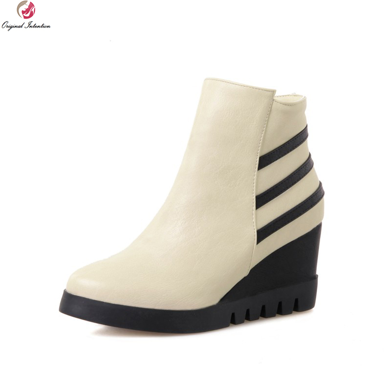 Original Intention New Elegant Womens Shoes Fashion Pointed Toe Wedge Heel Ankle Boots Women Warm Autumn Winter Boots Plus Size<br>