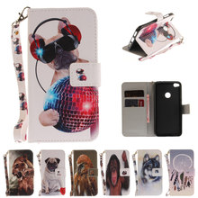 Animal Tiger dog Case For Huawei P8 Lite 2017 Card Holder Flip Leather Case sFor huawei p8 lite 2017 Phone Cover Fundas Coque <)
