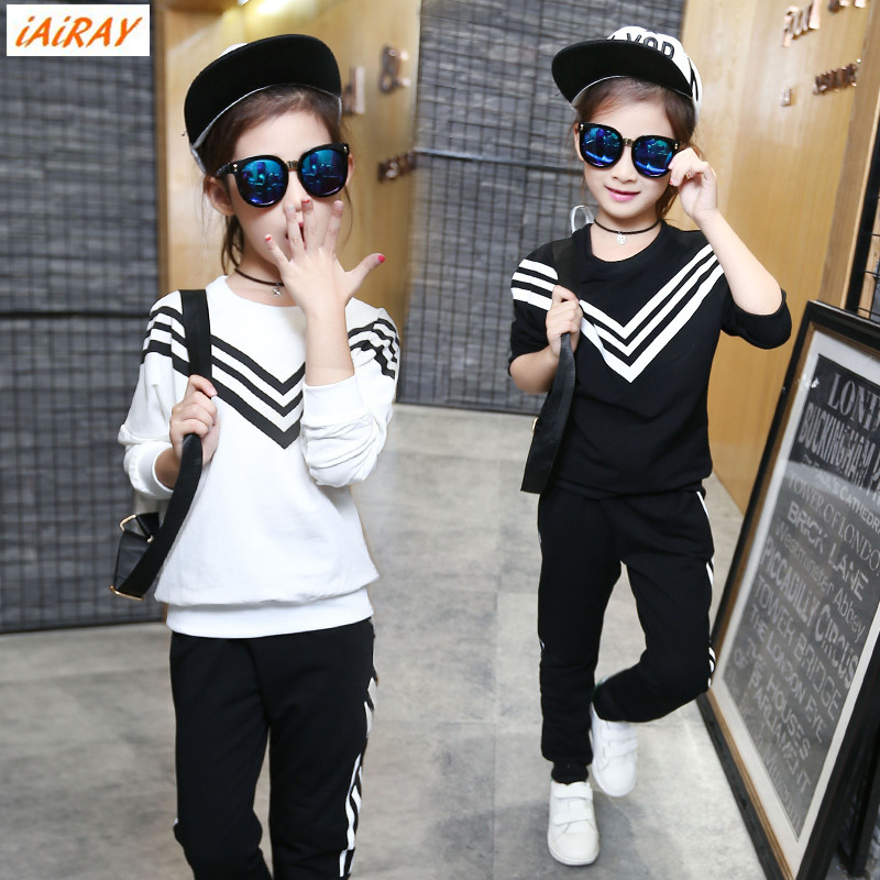 iAiRAY brand spring autumn girls sport suit kids girl clothes child set tracksuit children black pants white striped pullover<br>