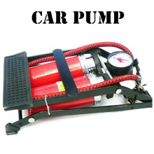 Car TWO pump air compressor Car-styling Foot Air Pump 100PSI Car Vehicle Tires Bicycle Bike Motorbike Ball Inflator