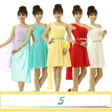 yellow short turquoise one shoulder bridemaid dresses women's pleated knee length bridesmaid dress chiffon free shipping B2701