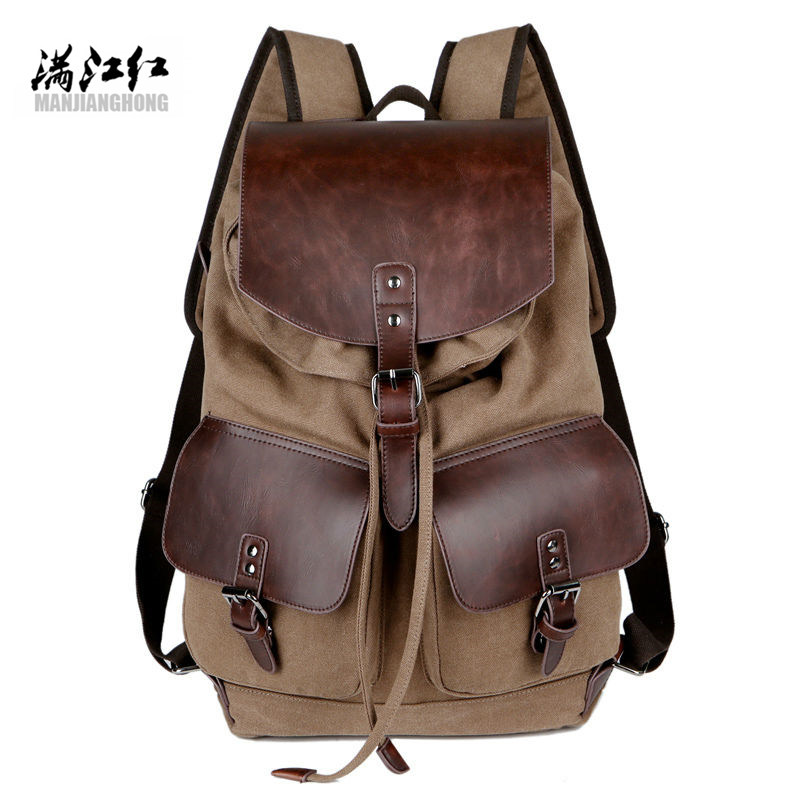 High Quality Retro Fashionable Casual Canvas Bag Microfiber Leather Womens Mens Backpack Mens High Capacity Shoulder Bag<br>