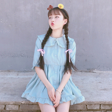 Buy Japanese Cute Fashion Kawaii Purple Dress Women Lolita Style 2018 Korean Summer Vintage Short Sleeve Loose Doll Blue Dresses for $19.24 in AliExpress store