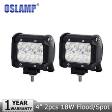 Oslamp 2pcs 18W 4inch CREE Chips LED Light Off-road Spot/Flood Beam Led Work Lights Driving Lamps for 12v 24v 4x4 Truck 4WD ATV