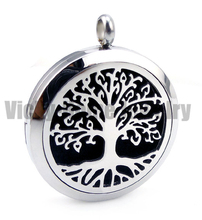 Aromatherapy Necklace Tree Design Essential Oil Locket Necklace With Pads Perfume Diffuser Locket Necklace