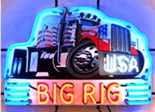 "Big Rig Truck Real Glass Tube neon sign Beer Pub Club Automotive signs Shop Store Decorative Signboard Custom Light  17""x14"""