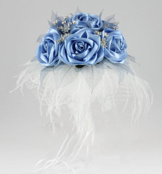 Blue Bouquet, Blue Bridal Bouquet, Blue Wedding Bouquet, Brooch Bouquet,