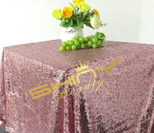 High-end Wedding!! 50''*72'' Pink Gold  Sequin Tablecloth,Table Linens, Sparkly Blue Bling Wedding Linens Tablecloth