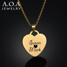 Personalized Heart Necklace Love Lovers Pendant Stainless Steel Engrave Name Photo Customized Necklace For Gift