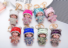 2017 Monchichi keychain cute Crystal Rhinestone Monchichi Dolls pompom Key chain Women bag car charm pendant Key Holder(China)