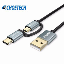 CHOETECH 2 in 1 Type C+Micro USB Cable Android 1.2M Mobile Phone Cables for Xiaomi 4C mi5 for Nokia N1 for Meizu Pro 5 USB Cable(China)