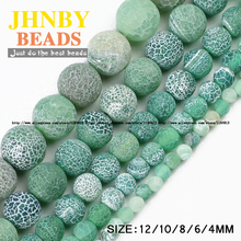 JHNBY Green Weathered carnelian beads Natural Stone Top quality Round Loose beads ball 4/6/8/10/12MM Jewelry bracelet makingDIY