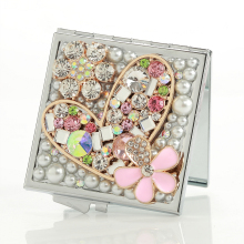 wedding party bridesmaid girl friend gift,bling crystal rhinestone heart flower,Beauty makeup compact pocket mini mirror