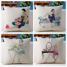 Free shipping/modern fashion girl illustration 43 * 43 cotton and linen hold pillow cushion for leaning on No Inner