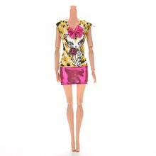 1PCS Hot Selling New Fashion Sexy Dress Leopard Cat Dress With Bowknot For Barbies Doll Accessories(China)