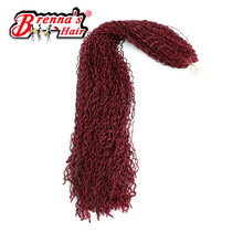3PCS Eunice Hair synthetic crochet braiding 24inch long hair extension kanekalon micro zizi Knot Braids black/burgundy twist(China)