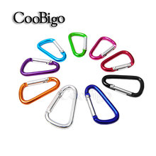 100pcs/Lot Colorful Aluminum Carabiner Spring Snap Hook Clip D Ring Keychain Camping Backpack Bag Parts Paracord Kits#FLQ098