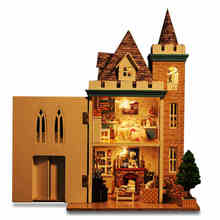 Doll House Diy miniature 3D Moden Wooden Puzzle Dollhouse miniaturas Furniture House Doll  Birthday Gifts Toys-Moonlight Castle