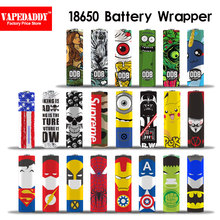 10pcs The 18650 20700 21700 Battery Wrapper Super Hero Battery Skin Sticker For E Cig Battery E-Cig Spider Man Captain American(China)