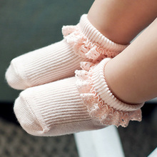 Toddler Baby Socks Cotton Lace Breathable Baby Girls Socks Non-slip Newborn Infants Socks CS.35 Baby Girls Clothing Accessories